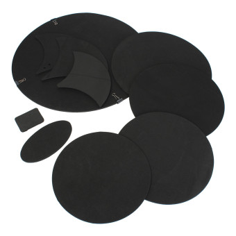 10Pcs Bass Snare Drums Soundoff/ Quiet Mute Silencer Drumming Practice Pad Set NEW - 2