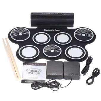 Digital Foldable Portable 7 Drum Pad Musical Instrument ElectronicMIDI Drum set Silicon Roll-up Drum Kit Sticks - intl