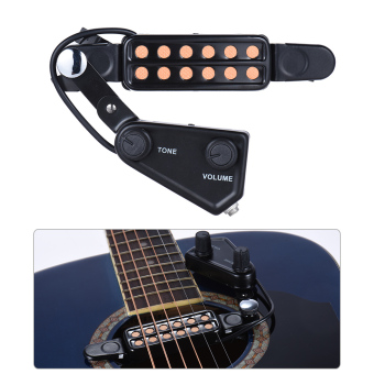 Harga 12-hole Acoustic Guitar Sound Hole Pickup Magnetic Transducer with Tone Volume Controller Audio Cable - intl