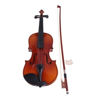 Basswood 1/8 Full Size Natural Acoustic Violin with Case Bow Rosin Bridge