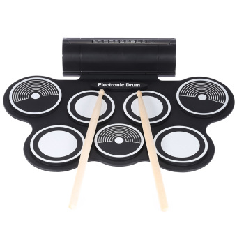 Harga Portable Foldable Silicone Electronic Drum Pad Kit Digital USB MIDI Roll-up with Drumstick Foot Pedal 3.5mm Audio Cable (EXPORT)