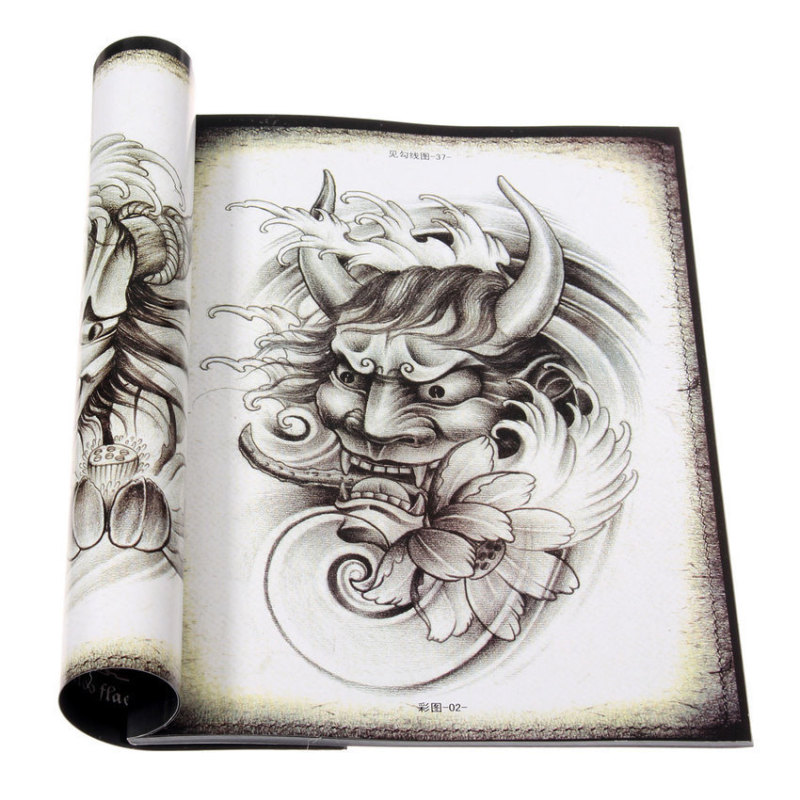 S & F 70 PagesTraditional Chinese Tattoo Manuscripts Flash Design Sketch Art Book
