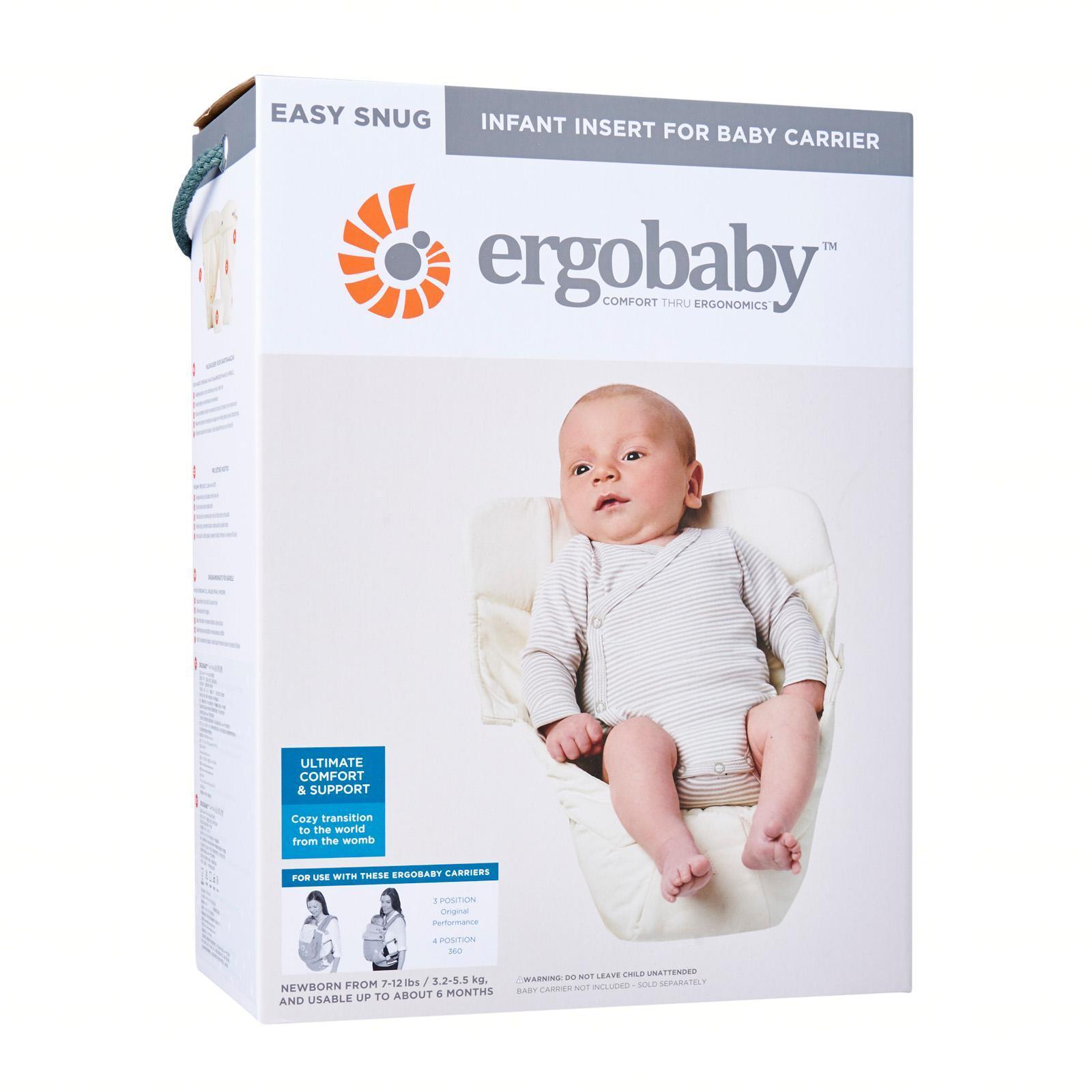 5b204a572a1 Ergobaby Easy Snug Infant Insert - Natural Fabric Grey