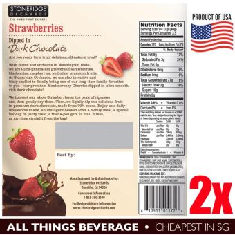 Stoneridge Orchards Strawberries Dipped in Dark Chocolate 2 packs of 5oz 142g (10oz 284g) Cheapest in SG - 2