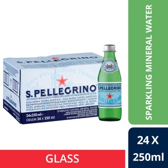 San Pellegrino Sparkling Natural Mineral Water, 250ml Glass Bottle (Pack Of 24)