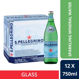 San Pellegrino Sparkling Natural Mineral Water, 750ml Glass Bottle (Case of 12)
