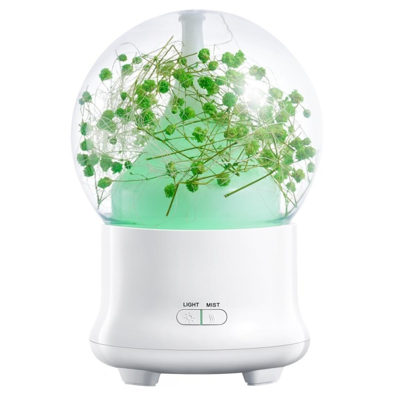 dmscs 100ml Essential Oil Diffuser,Preserved Fresh Flower Ultrasonic Aromatherapy Diffusers With 7 Changing Color LED Lights,2 Setting Mist Mode And Waterless Auto Shut-off For Home,Office,Yoga (UK Plug) - intl Singapore