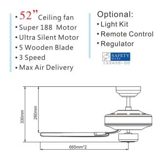 Fanco FFM 2000 52 inch Ceiling Fan with 402-3L Light Kit and Installation (Metalic Silver) - 4