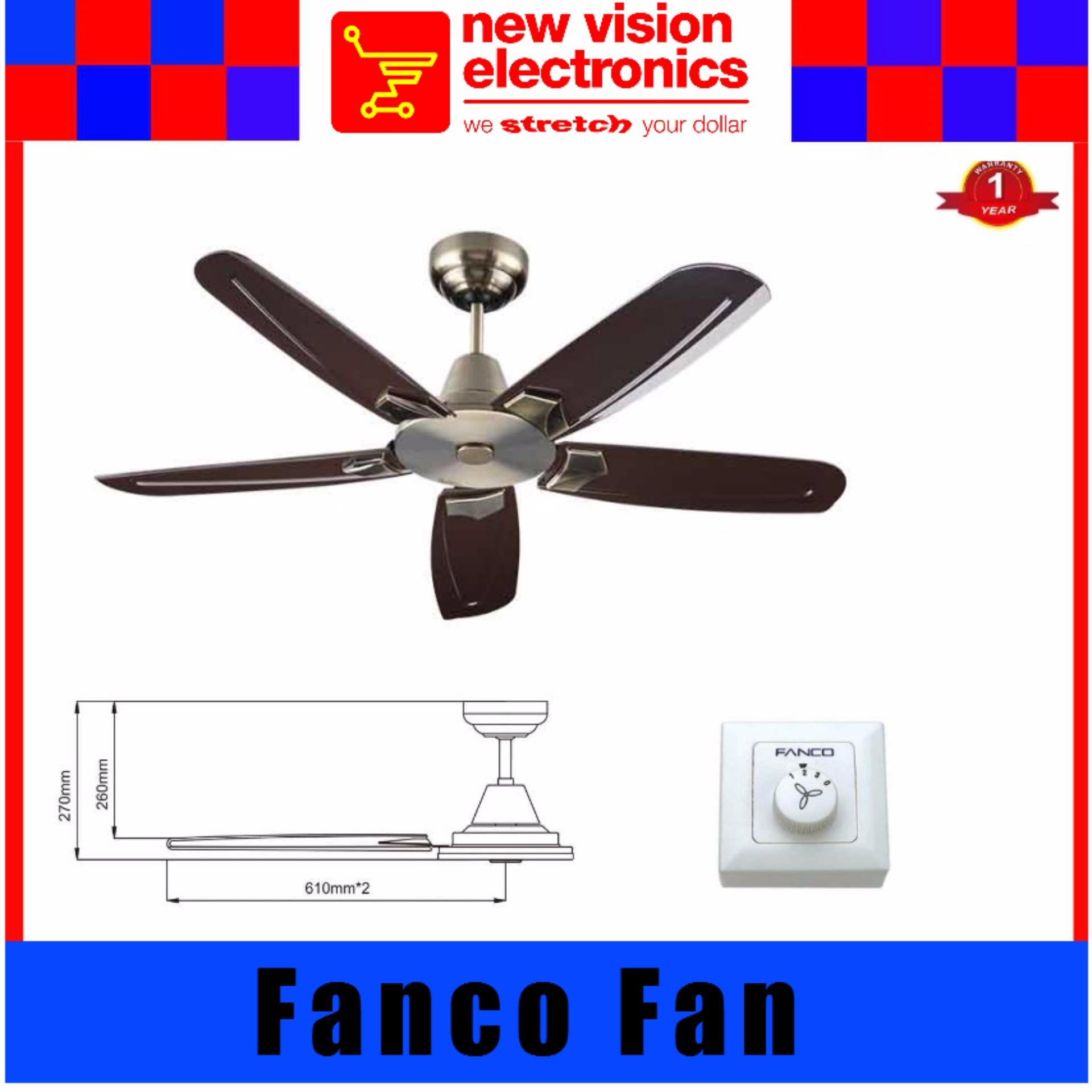 Fanco Ffm6000 48 Ceiling Fan 5 Abs Blade Safety Mark Roved Life Time Warranty On Motor In Antique Brush Singapore