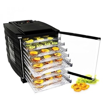Food Dehydrator Machine - Professional Electric Multi-Tier Food Preserver, Meat or Beef Jerky Maker, Fruit & Vegetable Dryer with 10 Slide Out Trays & Glass Door - intl