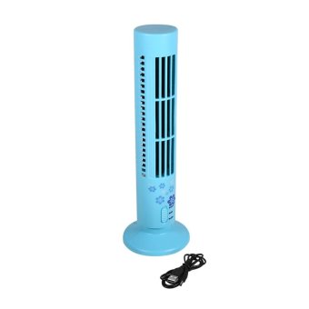 Harga Brand New Portable USB Bladeless No Leaf Air Conditioner Cool Desk Tower Fan (Blue) - intl