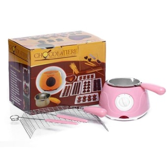 Harga Electric Chocolate Fountain Fondue Hot Chocolate Melt Pot melter Machine (Pink)