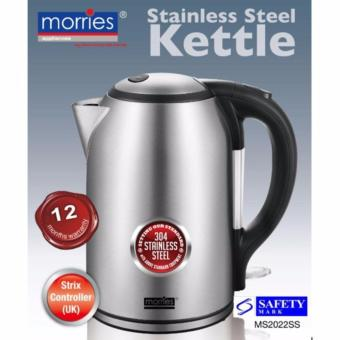 Harga MORRIES MS 2022SS 1.8L 3000W (RAPID BOILING )STAINLESS STEEL KETTLE(CONCEALED ELEMENT/STRIX UK CONTROLLER)(2500W-3000W)(1YEAR WARRANTY)