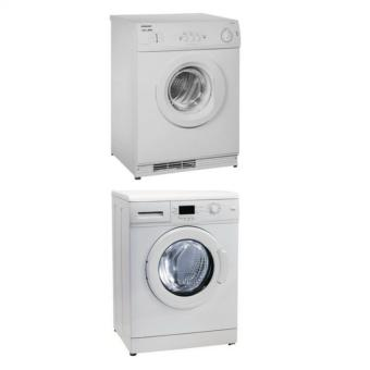 Harga ELBA - WASHER EWF 0861 A + DRYER EB 763T COMBO + FREE STACKING KIT