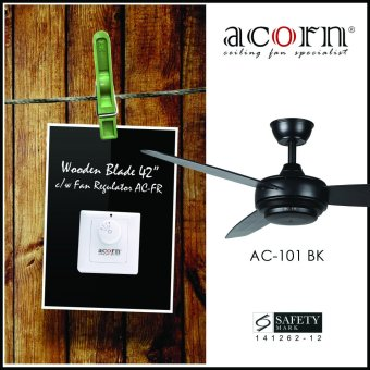 "Harga Acorn Rotatoire AC-101 42"" Wooden Blades Decorative Ceiling Fan c/w Fan Regulator (Matt Black)"