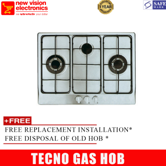 Harga Tecno UP7033TRSV Gas Hob (LPG) With 3 Burners and Safety Valve in Stainless Steel + PSB Safety Mark Approved + 1 Year Warranty + FREE Installation * + FREE Disposal*