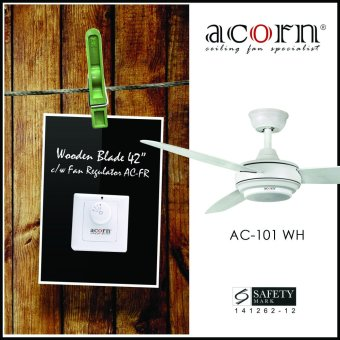 "Harga Acorn Rotatoire AC-101 42"" Wooden Blades Decorative Ceiling Fan c/w Fan Regulator (Matt White)"