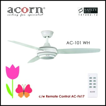 "Harga Acorn Rotatoire AC-101 48"" Decorative Ceiling Fan c/w Remote Control (Matt White)"