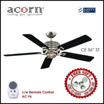 "Harga Acorn CE 56"" Decorative Ceiling Fan c/w 3-speed Pull Chain Switch (Stainless Steel)"