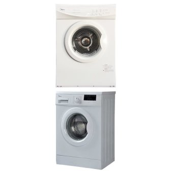 Harga MIDEA 7KG WASHER (MF718W) + 6KG DRYER (MD610W) BULDLE WITH STAKING KIT
