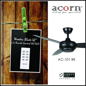 "Harga Acorn Rotatoire AC-101 42"" Wooden Blades Decorative Ceiling Fan c/w Remote Control (Matt Black)"
