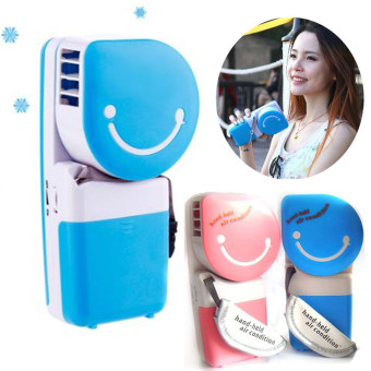 Harga USB Portable Hand Held Air Conditioner Cooler Cooling Fan (Blue)
