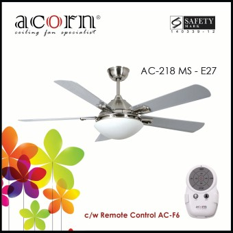 "Harga Acorn AC-218 Ventilateur E27 52"" Decorative Ceiling Fan c/w Remote Control (Matt Silver)"