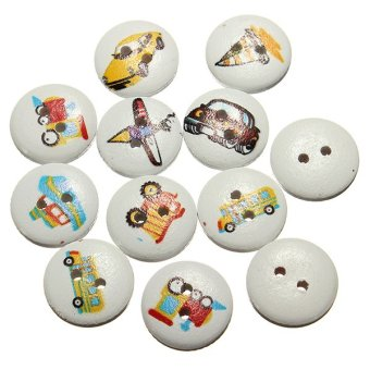 100 Pcs Mixed Transport Pattern 2 Holes Wood Buttons Sewing Scrapbooking 15mm - intl