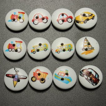 100 Pcs Mixed Transport Pattern 2 Holes Wood Buttons Sewing Scrapbooking 15mm - intl - 5