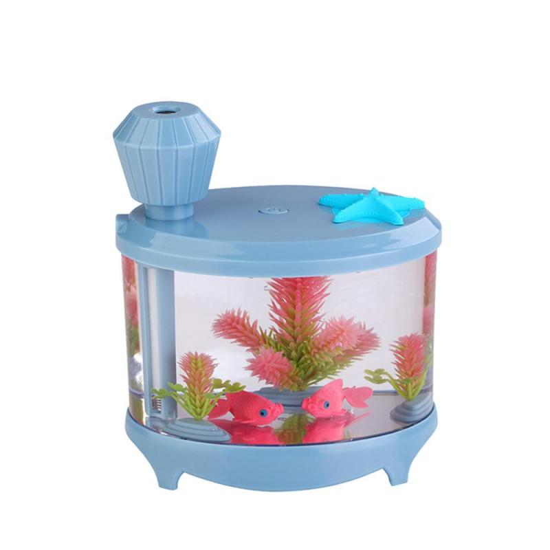 Leegoal 460ml USB Portable Small Fish Tank Cool Mist Aroma Humidifier Air Purifier with 7 Cloor LED Lights and Timer for Office Home Kids Bedroom(Blue) - intl Singapore