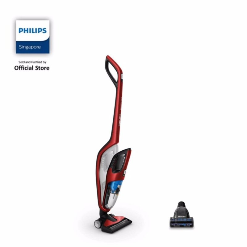 Philips FC6172/01 PowerPro Duo 2-in-1 Handstick Vacuum Cleaner with PowerCyclone, Cordless and Bagless, 25.2V - Red Singapore
