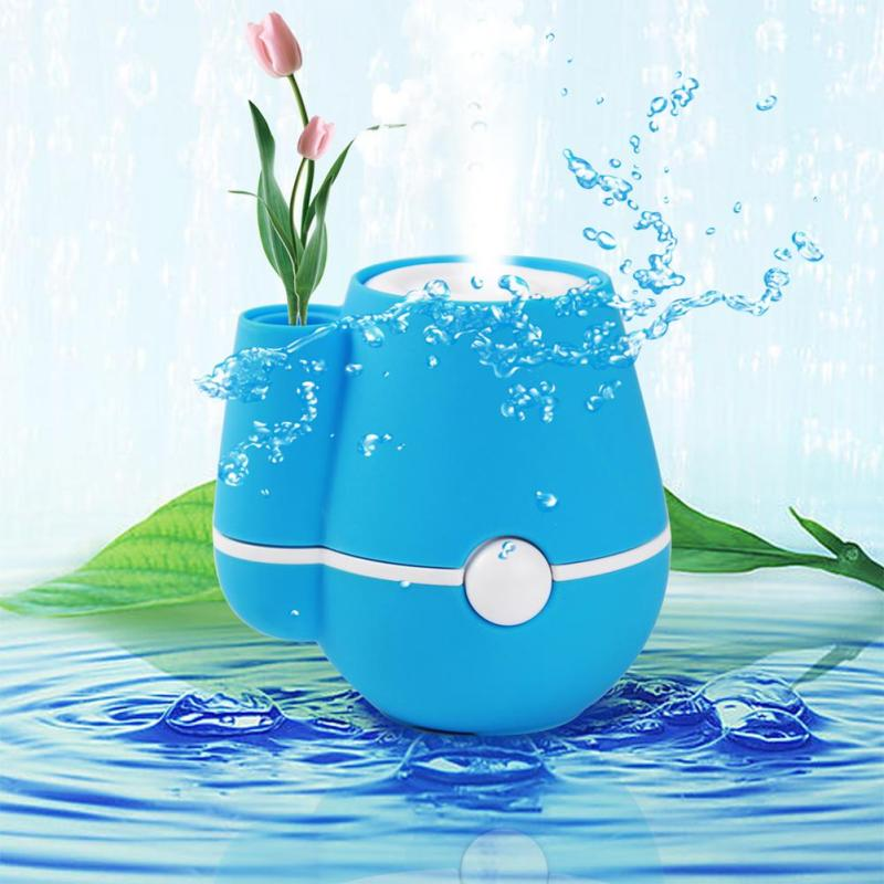 USB Flower Vase Shape Home Office 220ml Air Mist Purifier Humidifier Blue - intl Singapore