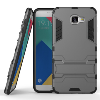 2-piece Kickstand Solid PC + TPU Cover for Samsung Galaxy A9 Pro (2016) - Grey - 2