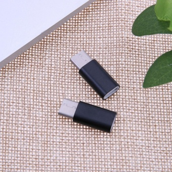 2pcs Micro Android Female to USB 3.1 Type-C Male Adapters(Black) - intl - 3