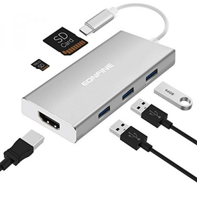 7-in-1 Type-C Hub Adapter with 3 USB 3.0 Ports, HDMI Output, Type C Charging Port, SD/Micro SD Card Reader for MacBook ChromeBook and More USB C Devices. - intl