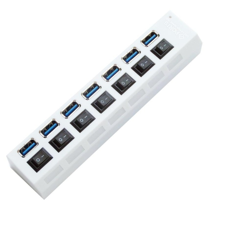 7-Port USB 2.0 Multi Charger Hub +High Speed Adapter ON/OFF Switch Laptop/PC - intl