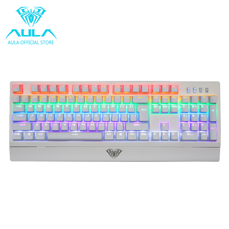 AULA OFFICIAL Wings of Liberty Mechanical Gaming Keyboard 104keys Multicolors LED Backlit(White) Singapore
