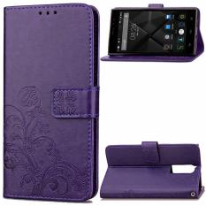 BYT Flower Debossed Leather Flip Cover Case for Doogee F5 Purple intl .