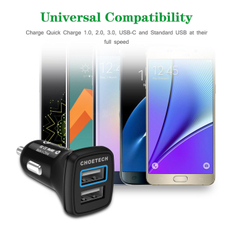 CHOETECH 30W Quick Charge 3.0 Dual USB Fast Car Charger - 2
