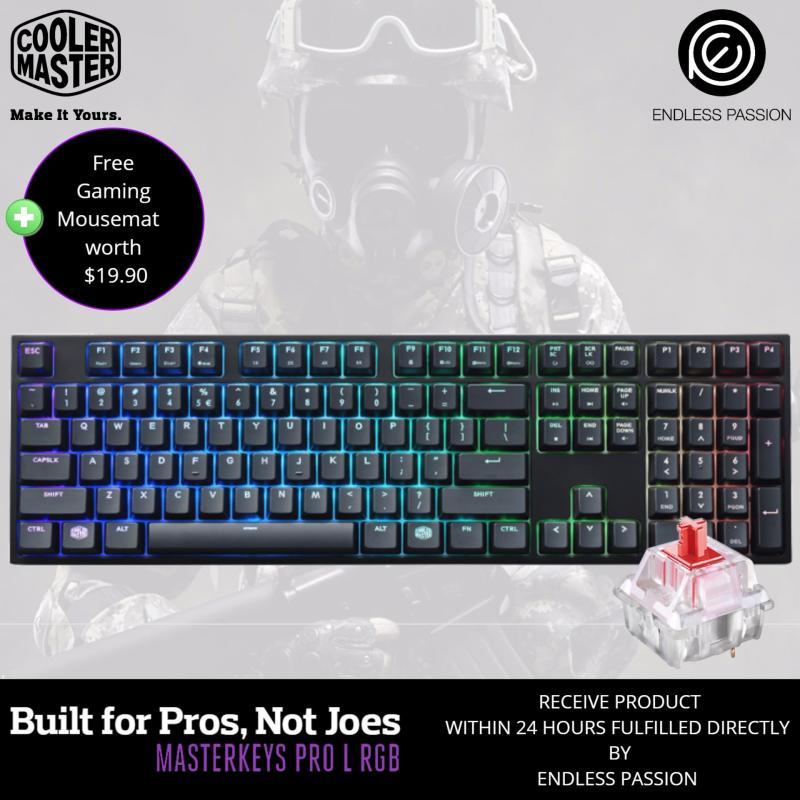 Cooler Master Masterkeys Pro L RGB Mechanical Gaming Keyboard - MX Cherry Red/Brown/Blue Switch Singapore