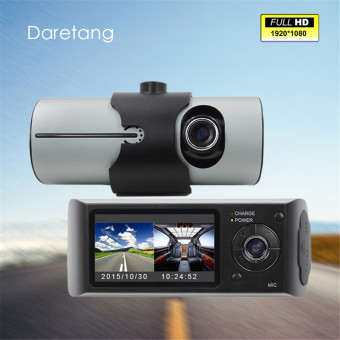 "Harga HD 2.7"" LCD Car DVR Dual Camera Driving Recorder Car CameraDash-Cam GPS Logger G-Sensor"