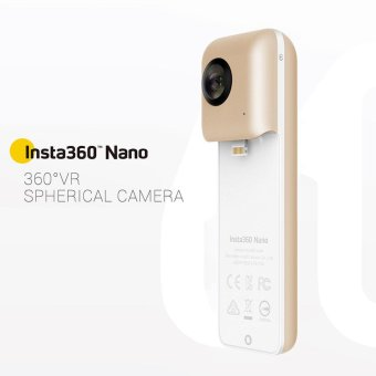 Harga Insta360 Nano Golden Limited Edition Mini 3K HD VR 360� Panoramic Panorama Video Camera Dual 210� Wide Angle Fisheye Lens w/ VR Headset Glasses Support Live 360 Livestream Broadcast Facial Beauty Share for iPhone 7/7 Plus/6s/6s Plus/6 Smartphone - intl