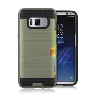 Harga Metal color case for Samsung galaxy S8 plus with credit card slot 2 in 1 tpu & plastic Double layer Shockproof protector - intl