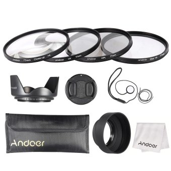 Harga Andoer 77mm Lens Filter Kit (UV + CPL + Star+8 + Close-up+4 ) with Lens Cap + Lens Cap Holder + Tulip & Rubber Lens Hoods + Cleaning Cloth Outdoorfree