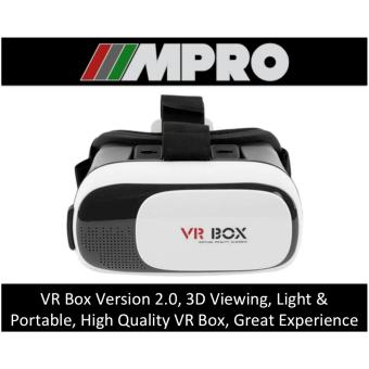 Harga VR Box Virtual Reality 3D Glasses Headset Version 2.0 for Smart Phone Watch Video Movie & Gaming (WHITE) (SINGAPORE SELLER)