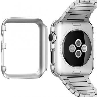 Hard Aluminum Plated Protective Bumper Shell for Apple Watch SERIES 1 38mm All Model Cover Case(Silver) - 5