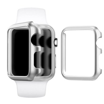 Hard Aluminum Plated Protective Bumper Shell for Apple Watch SERIES 1 38mm All Model Cover Case(Silver) - 2