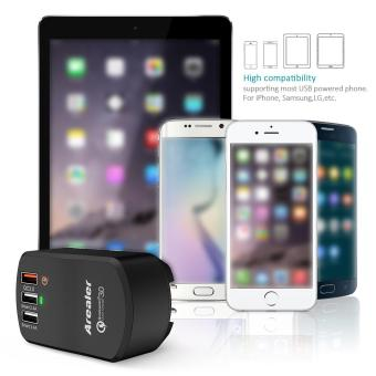 Arealer Quick Charger 3.0 Trial 42W USB Wall Charger with Two Smart USB Charger One Qualcomm Certified QC 3.0 Foldable Plug for Samsung Galaxy S7/S6 Note LG HTC iPhone - intl - 5