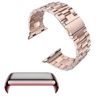 Harga Stainless Steel Replacement Watch Band Strap Accessories Set PC Plating Anti-scratch Screen Protector Shell with Bumper for Apple Watch iWatch Series 2 42mm Rose-gold - intl