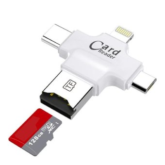 Harga 4in1 Micro SD Card Reader, with Type C Connector, Lightning,Jacksoo micro USB and USB Connector - intl